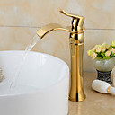cheap Ceiling Lights-Bathroom Sink Faucet - Waterfall Ti-PVD Widespread One Hole / Single Handle One HoleBath Taps