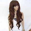 cheap Synthetic Capless Wigs-Synthetic Wig Curly / Wavy / Loose Wave Style Asymmetrical Capless Wig Black Darkest Brown Dark Brown Dark Auburn Synthetic Hair 25 inch Women's Natural Hairline Black / Dark Brown Wig Long Party Wig
