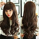 cheap Synthetic Capless Wigs-Synthetic Wig / Bangs Curly / Wavy / Body Wave Style Wig Black Flaxen Light Brown Dark Brown Synthetic Hair Women's Black Wig