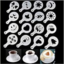 cheap Coffee and Tea-Mold Coffee Milk Cake Cupcake Stencil Template Coffee Barista Cappuccino Template Strew Pad Duster Spray Tools