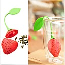 cheap Coffee and Tea-New Silicon Strawberry Design Tea Leaf Strainer 1pc,Kitchen Tool