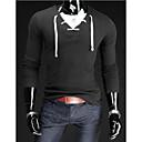 abordables Tocados de Fiesta-Hombre Algodón Camiseta, Escote Redondo Un Color / Manga Larga
