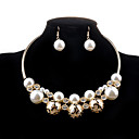 cheap Jewelry Sets-Women's Pearl Hollow Jewelry Set - Pearl, Imitation Pearl, Imitation Diamond Luxury, Fashion Include Necklace / Earrings Golden For Wedding / Party / Daily