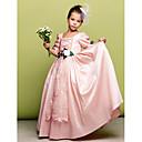 billige Smykkesett-A-linje / Prinsesse Gulvlang Blomsterpikekjole - Taft 3/4 ermer Firkantet hals med Blonder / Blomst av LAN TING BRIDE®