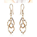 cheap Earrings-Women's 3D Hoop Drop Earrings - Fashion Gold For