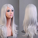 cheap Videogame Cosplay Wigs-Synthetic Wig Curly / Natural Wave Kardashian Style Asymmetrical Capless Wig White Silver Synthetic Hair Women's Natural Hairline White Wig Medium Length / Long