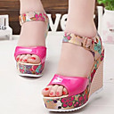 cheap Women's Sandals-Women's Shoes Leatherette Spring / Summer Comfort Sandals Wedge Heel Peep Toe Buckle Beige / Fuchsia / Blue