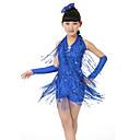 baratos Roupas Infantis de Dança-Dança Latina Vestidos Espetáculo Poliéster Lantejoulas Mocassim Sem Manga Natural Vestido Luvas Decoração de Cabelo Calções