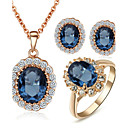cheap Jewelry Sets-Women's Crystal Jewelry Set - Crystal, Cubic Zirconia Dainty, Elegant, Bridal Include Stud Earrings / Pendant Necklace / Ring Blue For Wedding / Party / Anniversary