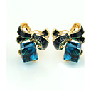 baratos Brincos-Mulheres Cristal Brincos Curtos - Banhado a Ouro 18K, Strass, Chapeado Dourado Europeu, Fashion Azul Para / Imitações de Diamante / Cristal Austríaco