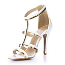 baratos Sapatos de Salto-Mulheres Sapatos Couro Ecológico Verão Conforto Sandálias Salto Agulha Dedo Aberto Branco / Casamento / Festas & Noite / Festas & Noite