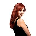 olcso Szintetikus parókák-Szintetikus parókák Egyenes Bretonnal Szintetikus haj Oldalsó rész Piros Paróka Női Közepes Sapka nélküli Aranybarna