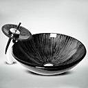 billige Frittstående vask-Baderomsvask / Baderomskran / Baderom Monteringsring Moderne - Herdet Glass Rund