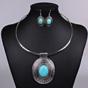 cheap Jewelry Sets-Women's Crystal Jewelry Set - Turquoise Vintage, Party, Work Include Drop Earrings / Pendant Necklace Blue / Screen Color For Party / Gift / Daily
