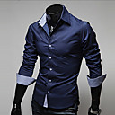 cheap Smartwatches-Men's Work Plus Size Cotton Slim Shirt - Solid Colored Basic Classic Collar / Long Sleeve