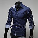 رخيصةأون جورسيه الدراجة-رجالي قطن قميص قياس كبير نحيل ياقة كلاسيكية - الأعمال التجارية أساسي لون سادة, عمل / كم طويل / الربيع / الخريف