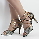 cheap Latin Shoes-Women's Latin Shoes Leatherette High Heel / Sandal Buckle / Lace-up Stiletto Heel Customizable Dance Shoes Bronze / Indoor