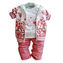 tanie Sandały damskie-Brzdąc Dla dziewczynek Kwiaty Długi rękaw Regularny Regularny Komplet odzieży Różowy
