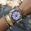 hesapli Moda Saatler-Kadın's Quartz Bilezik Saat Büyük indirim PU Bant Çiçek Vintage Moda Siyah Beyaz Yeşil Pembe Bej