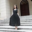 hesapli Bileklik Saatler-Kadın's Sokak Şıklığı Salaş Elbise - Solid, Dantel Örümcek Ağı Midi