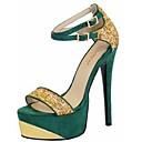 זול Fashion Ring-בגדי ריקוד נשים נעליים פליז אביב / קיץ עקב סטילטו שחור / אדום / ירוק / מסיבה וערב / מסיבה וערב