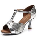 olcso Lófarok-Női Latin cipők Flitter / Szatén / Bőrutánzat Szandál Flitter / Csat Személyre szabott sarok Személyre szabható Dance Shoes Ezüst / Barna