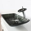 abordables Lavabos-Moderno Rectangular material del disipador es Vidrio Templado Lavabo de Baño Grifería de Baño Anillo de Montura de Baño Drenaje de Baño