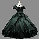 זול תחפושות מבוגרים-לוליטה גותי Steampunk® ויקטוריאני מֶשִׁי בגדי ריקוד נשים שמלות Cosplay ירוק כהה משורר שרוולים קצרים ארוך