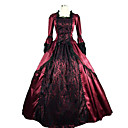cheap Historical & Vintage Costumes-Victorian Medieval Costume Women's Dress Party Costume Masquerade Fuchsia Vintage Cosplay Lace Satin Long Sleeve Long Length Ball Gown Plus Size Customized