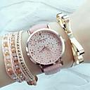 cheap Fashion Watches-Women's Quartz Wrist Watch Hollow Engraving PU Band Elegant Fashion Black White Pink