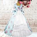 tanie Kostiumy ze starego świata-Słodka Lolita Lolita Damskie Sukienka Cosplay Jasnoniebieski Kwiaty Długi rękaw Długość średnia Kostiumy