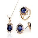 cheap Jewelry Sets-Jewelry Set - Cubic Zirconia Vintage, Party, Work Include Gold / Royal Blue For Party / Special Occasion / Anniversary / Earrings / Necklace