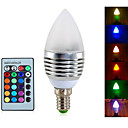 cheap LED Bulbs-YWXLIGHT® 4W 300-350 lm E14 LED Candle Lights A60(A19) 3 leds Integrate LED Dimmable Decorative Remote-Controlled RGB AC 85-265V