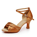 cheap Latin Shoes-Women's Latin Shoes Satin / Leatherette Heel Buckle Customized Heel Customizable Dance Shoes Brown / Indoor / Performance / Practice / Professional