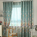 cheap Curtains Drapes-Grommet Top Double Pleat Two Panels Curtain Modern Neoclassical Country, Print Bedroom Polyester Material Curtains Drapes Home Decoration
