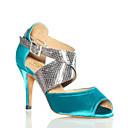 hesapli Salsa Ayakkabıları-Kadın Latince Saten Tüylü Topuklular Performans Egzersiz Yeni Başlayan Profesyonel Toka Stiletto Topuk Mavi Kişiselletirilmemiş