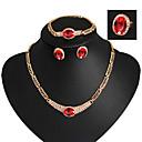 povoljno Komplet nakita-Komplet nakita Vintage Zabava Alke / lanac Europska Moda Kubični Zirconia Naušnice Jewelry Zlato / Crvena Za Party Special Occasion godišnjica Rođendan Dar / Ogrlice
