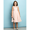 cheap Wall Sconces-A-Line Scoop Neck Knee Length Chiffon Junior Bridesmaid Dress with Lace by LAN TING BRIDE® / Natural / Mini Me