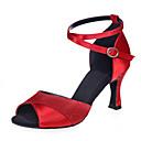 זול נעליים לטיניות-בגדי ריקוד נשים נעליים לטיניות נצנצים סנדלים עקב רחב מותאם אישית נעלי ריקוד חום / כסף / אדום / הצגה / עור