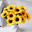 cheap Artificial Flower-Artificial Flowers 1 Branch Pastoral Style Sunflowers Tabletop Flower