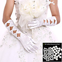 cheap Party Gloves-Spandex Elbow Length Glove Bridal Gloves / Party / Evening Gloves With Pearl / Ruffles