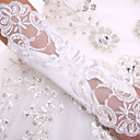 cheap Cake Toppers-Spandex Fabric Elbow Length Glove Luxury / Bridal Gloves With Pearl / Sequin / Embroidery