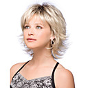 cheap Synthetic Wigs-Synthetic Wig Natural Wave Bob Haircut / With Bangs Synthetic Hair Dark Roots / Side Part Blonde Wig Women's Short Capless