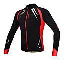 cheap Cycling Jackets-SANTIC Men's Cycling Jacket Bike Jacket / Top Thermal / Warm, Windproof, Anatomic Design Solid Colored Spandex, Fleece Black Bike Wear