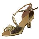 hesapli Salsa Ayakkabıları-Kadın's Latin Dans Ayakkabıları Saten / Yapay Deri Sandaletler / Topuklular Toka Kalın Topuk Kişiselletirilmemiş Dans Ayakkabıları Gümüş / Altın / Haki / İç Mekan / Performans / Egzersiz