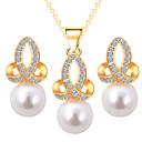 abordables Pendientes-Mujer Diamante sintético Conjunto de joyas - Perla Artificial Incluir Plata / Dorado Para Boda Fiesta Cumpleaños / Pendientes / Collare