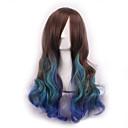 preiswerte Synthetische Perücken-Synthetische Perücken Locken / Große Wellen Asymmetrischer Haarschnitt Synthetische Haare Natürlicher Haaransatz Braun Perücke Damen Lang Kappenlos