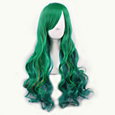 baratos Peruca para Fantasia-Perucas sintéticas / Perucas de Fantasia Ondulado Cabelo Sintético Verde Peruca Mulheres Médio Sem Touca Verde