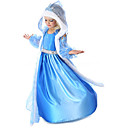 cheap Headsets & Headphones-Princess Fairytale Elsa Cosplay Costume Movie Cosplay Blue Coat Dress Gloves Halloween New Year Chiffon