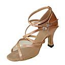 cheap Ballet Shoes-Women's Dance Shoes Latin / Swing / Salsa / Samba / Leatherette Chunky Heel Brown / Gold / Leopard